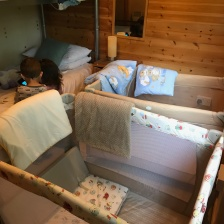 Second bedroom w/ travel cots
